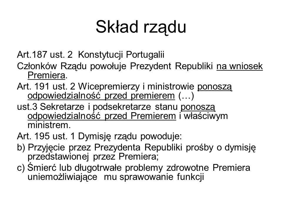 Skład rządu Art.187 ust. 2 Konstytucji Portugalii