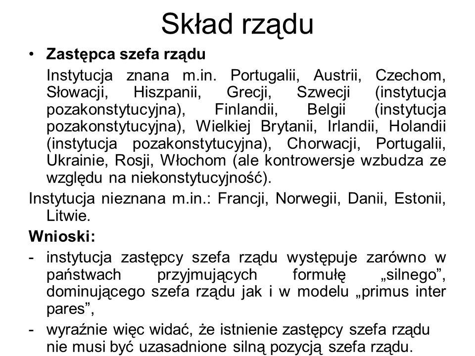 Skład rządu Zastępca szefa rządu