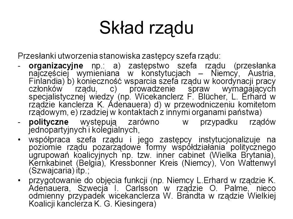 Skład rządu Przesłanki utworzenia stanowiska zastępcy szefa rządu: