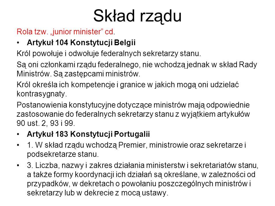 "Skład rządu Rola tzw. ""junior minister cd."