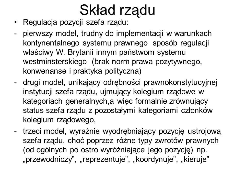 Skład rządu Regulacja pozycji szefa rządu: