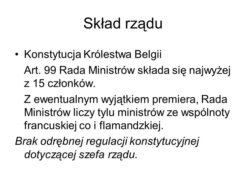 Skład rządu Konstytucja Królestwa Belgii