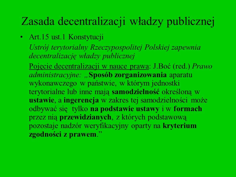 Zasada decentralizacji władzy publicznej