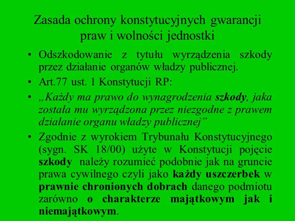 Zasada ochrony konstytucyjnych gwarancji praw i wolności jednostki