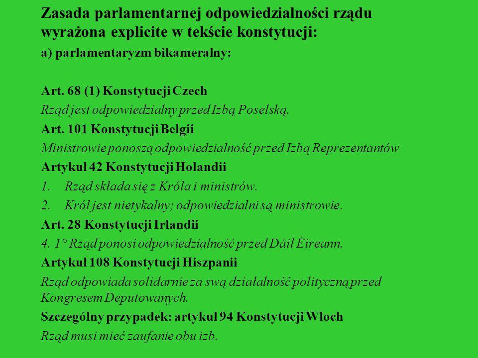 Zasada parlamentarnej odpowiedzialności rządu wyrażona explicite w tekście konstytucji: