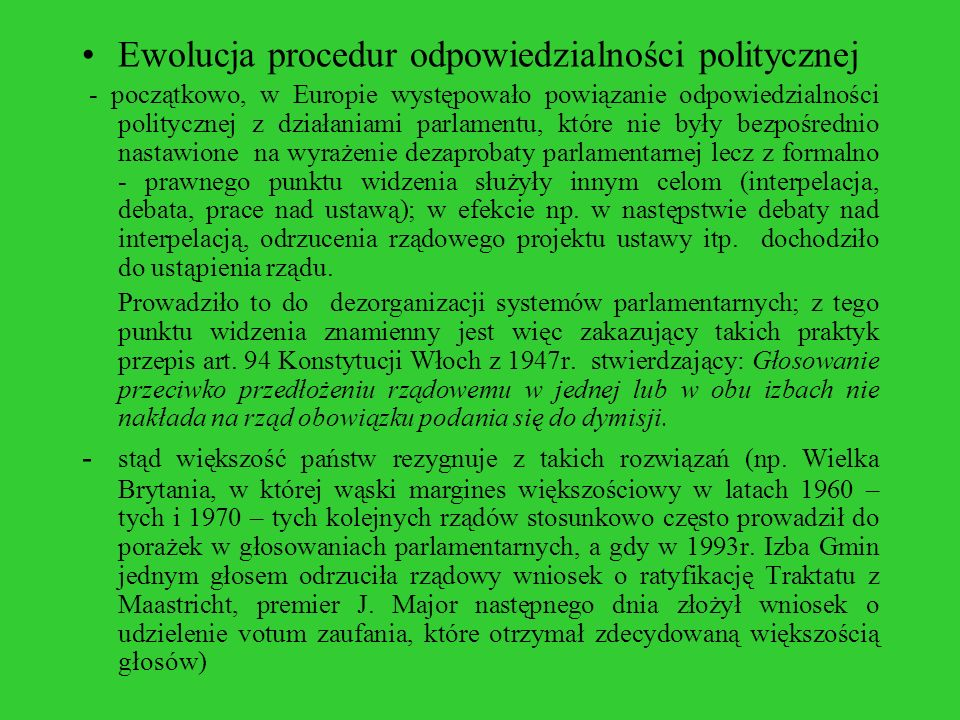 Ewolucja procedur odpowiedzialności politycznej