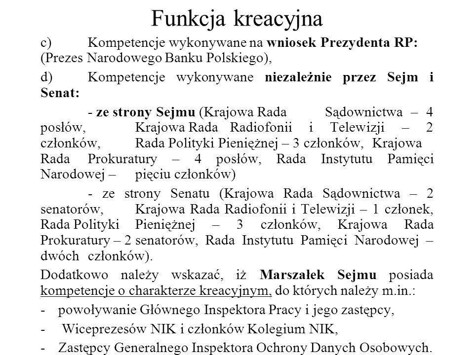 Funkcja kreacyjna c) Kompetencje wykonywane na wniosek Prezydenta RP: (Prezes Narodowego Banku Polskiego),