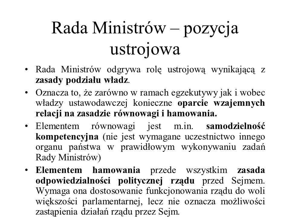Rada Ministrów – pozycja ustrojowa