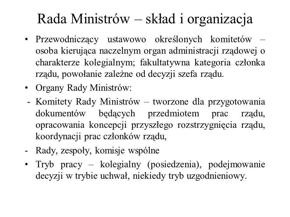 Rada Ministrów – skład i organizacja