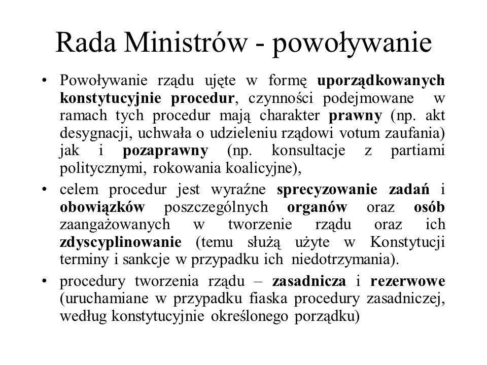 Rada Ministrów - powoływanie