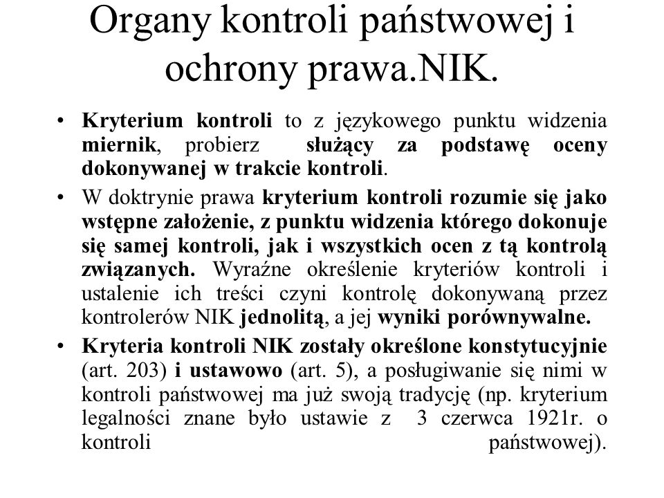 Organy kontroli państwowej i ochrony prawa.NIK.