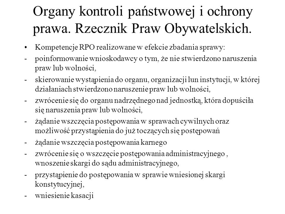 Organy kontroli państwowej i ochrony prawa. Rzecznik Praw Obywatelskich.
