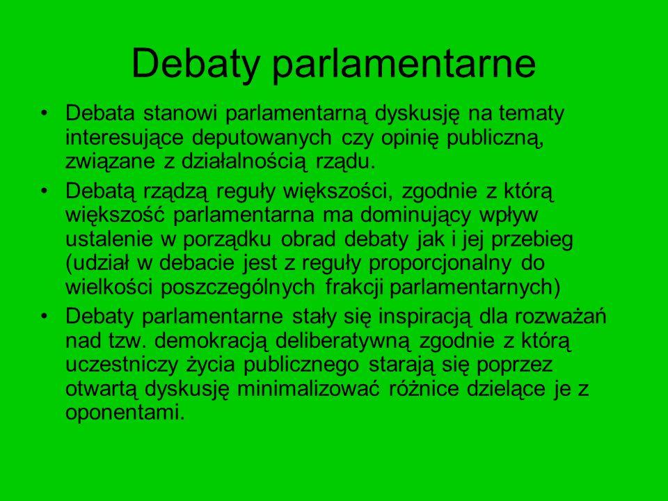 Debaty parlamentarne Debata stanowi parlamentarną dyskusję na tematy interesujące deputowanych czy opinię publiczną, związane z działalnością rządu.