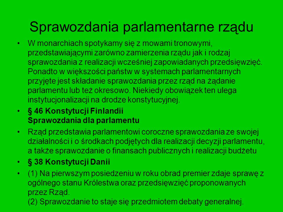 Sprawozdania parlamentarne rządu