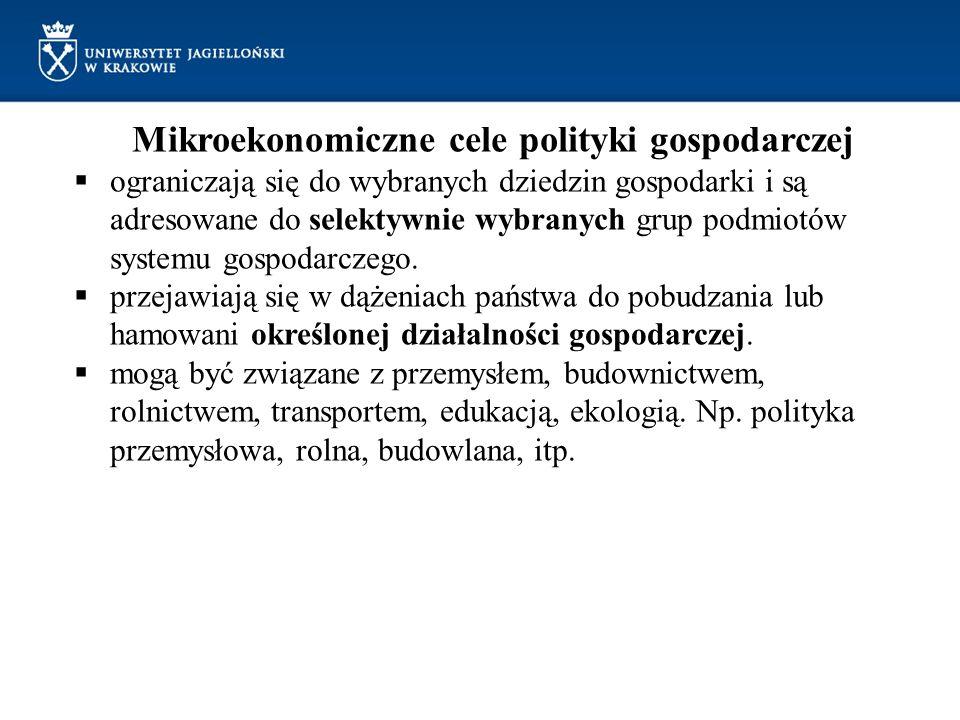 Mikroekonomiczne cele polityki gospodarczej