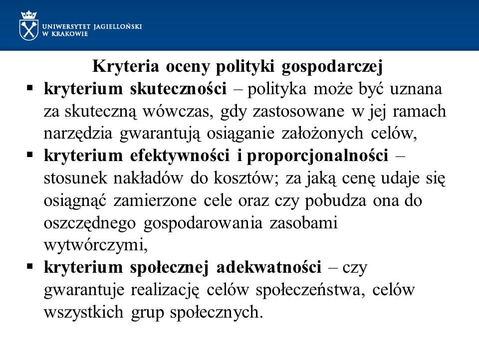 Kryteria oceny polityki gospodarczej