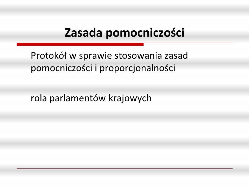 Zasada pomocniczości Protokół w sprawie stosowania zasad pomocniczości i proporcjonalności rola parlamentów krajowych