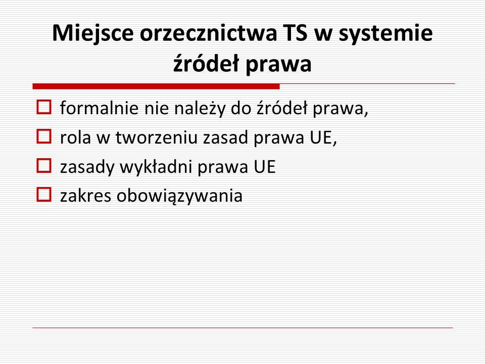 Miejsce orzecznictwa TS w systemie źródeł prawa
