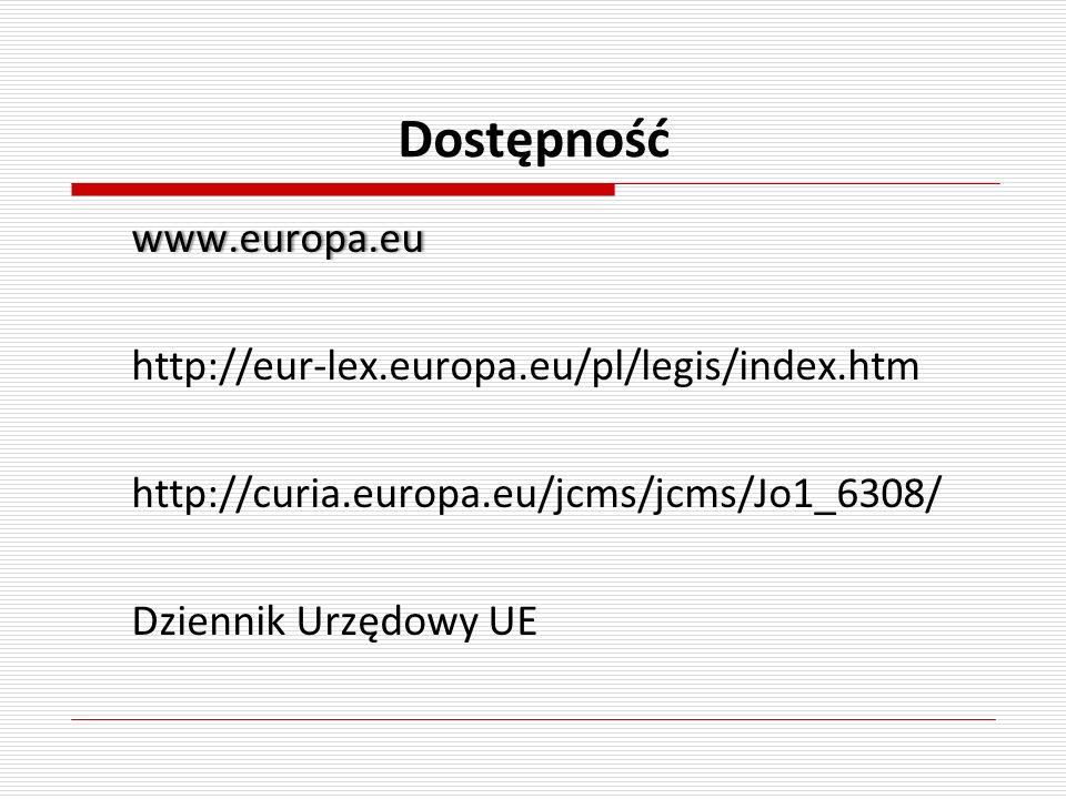 Dostępność www.europa.eu http://eur-lex.europa.eu/pl/legis/index.htm