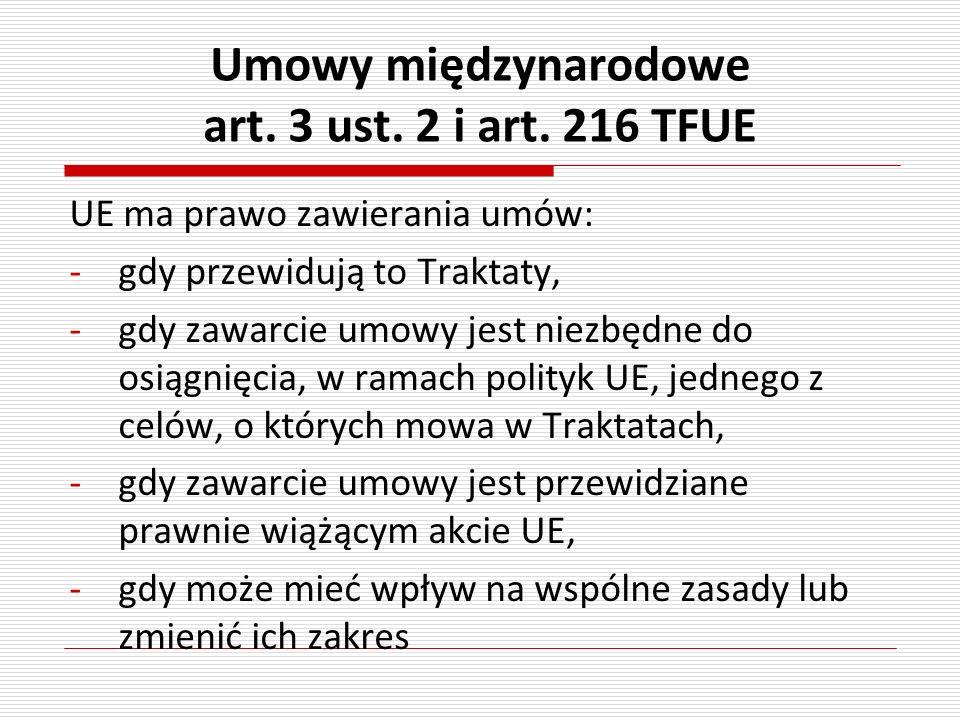 Umowy międzynarodowe art. 3 ust. 2 i art. 216 TFUE