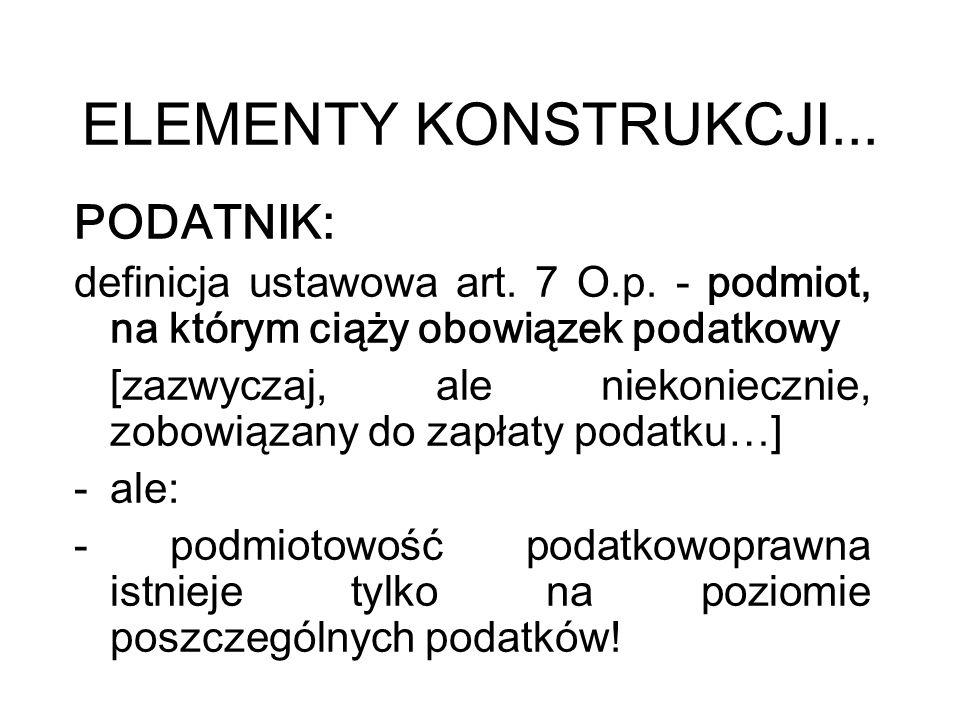 ELEMENTY KONSTRUKCJI... PODATNIK: