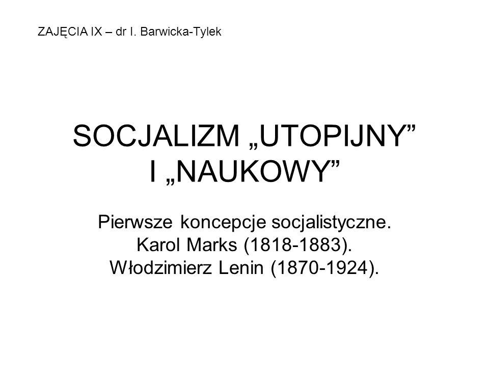 """SOCJALIZM """"UTOPIJNY I """"NAUKOWY"""