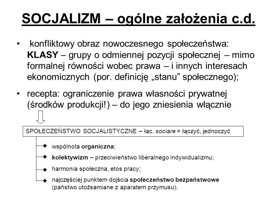 SOCJALIZM – ogólne założenia c.d.