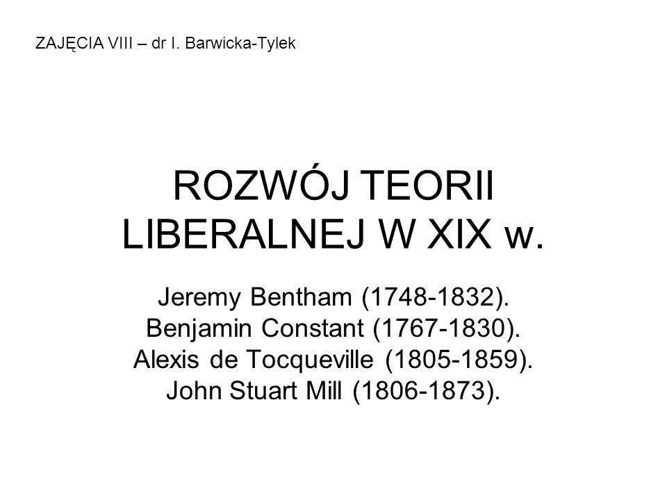 ROZWÓJ TEORII LIBERALNEJ W XIX w.