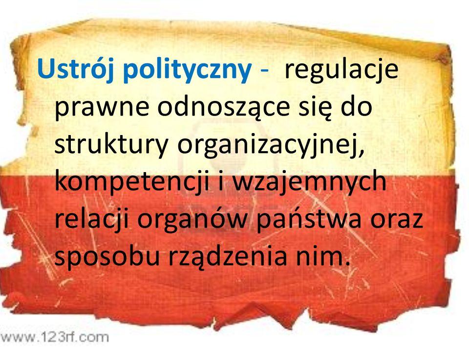 Ustrój polityczny - regulacje prawne odnoszące się do struktury organizacyjnej, kompetencji i wzajemnych relacji organów państwa oraz sposobu rządzenia nim.