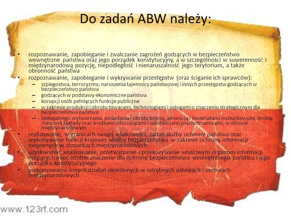 Do zadań ABW należy: