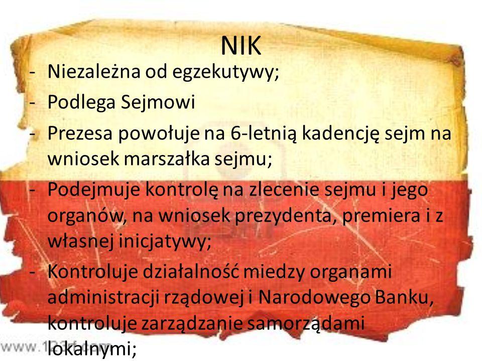 NIK Niezależna od egzekutywy; Podlega Sejmowi