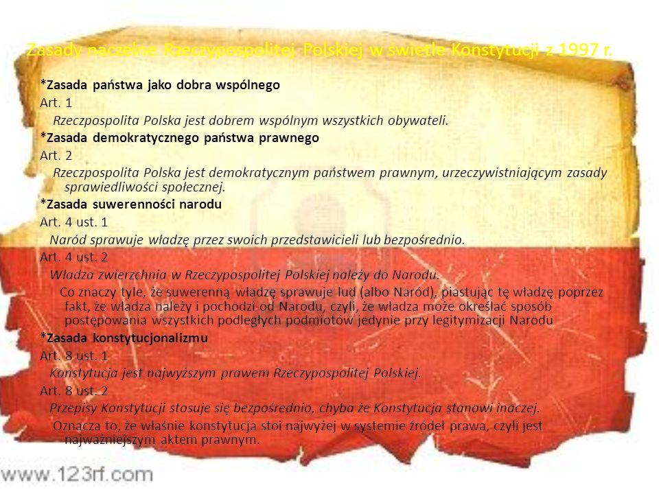 Zasady naczelne Rzeczypospolitej Polskiej w świetle Konstytucji z 1997 r.