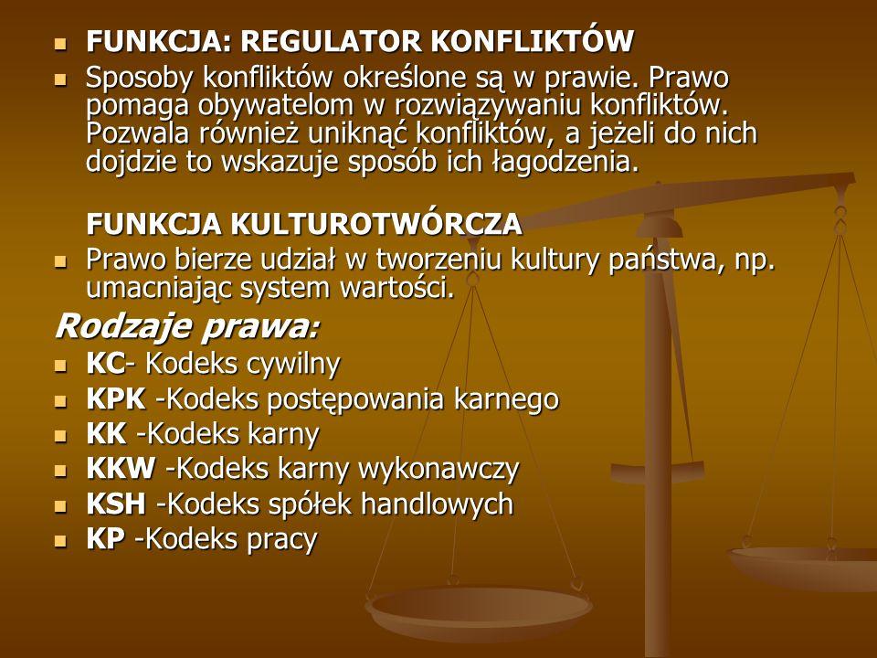 Rodzaje prawa: FUNKCJA: REGULATOR KONFLIKTÓW