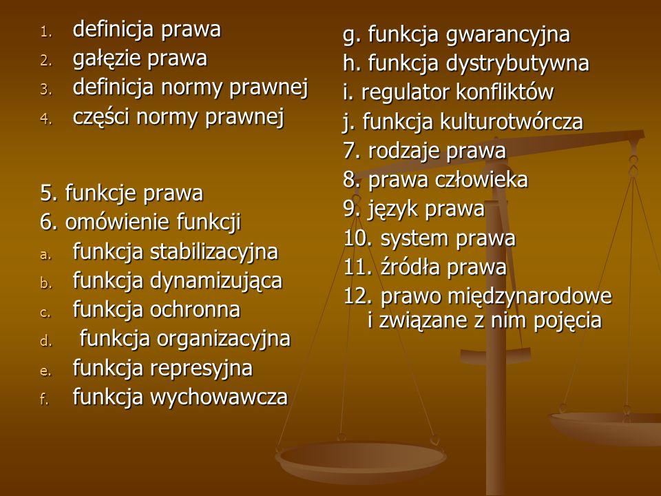 definicja prawa gałęzie prawa. definicja normy prawnej. części normy prawnej. 5. funkcje prawa. 6. omówienie funkcji.