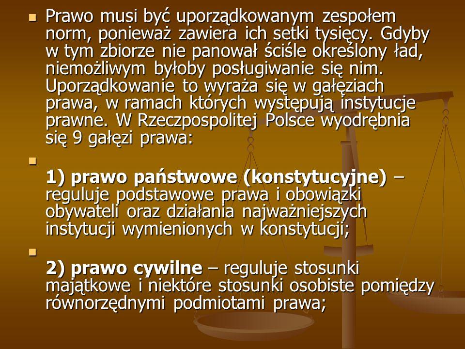 Prawo musi być uporządkowanym zespołem norm, ponieważ zawiera ich setki tysięcy. Gdyby w tym zbiorze nie panował ściśle określony ład, niemożliwym byłoby posługiwanie się nim. Uporządkowanie to wyraża się w gałęziach prawa, w ramach których występują instytucje prawne. W Rzeczpospolitej Polsce wyodrębnia się 9 gałęzi prawa:
