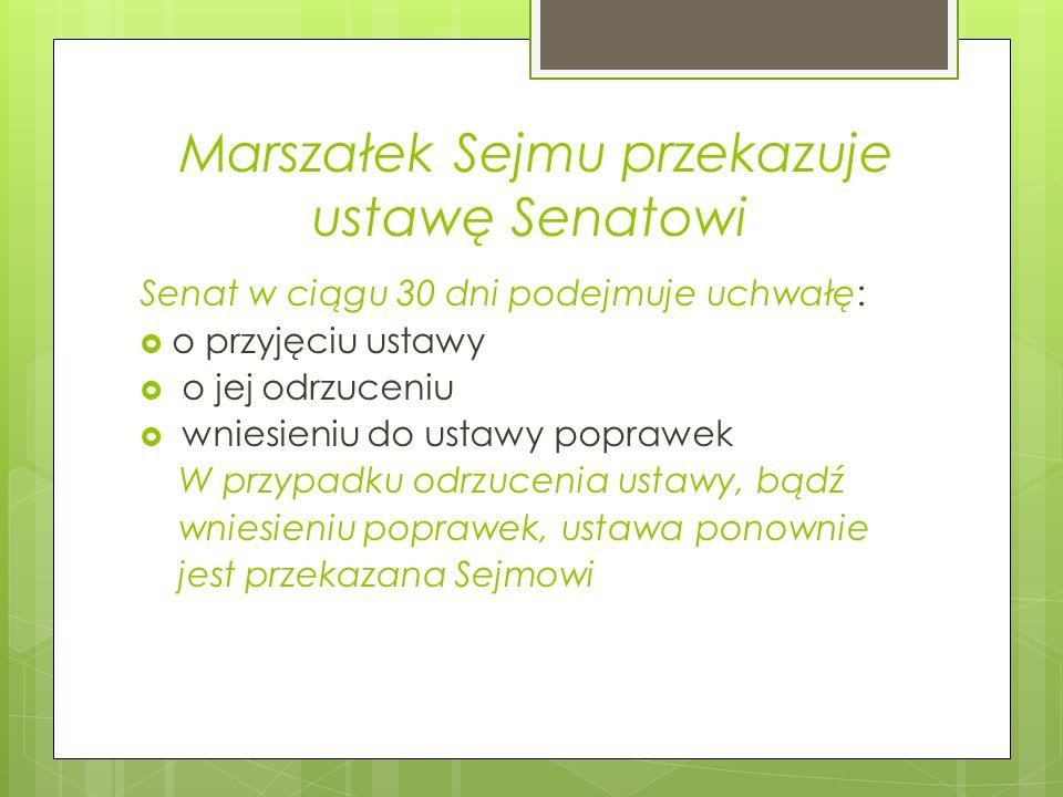 Marszałek Sejmu przekazuje ustawę Senatowi