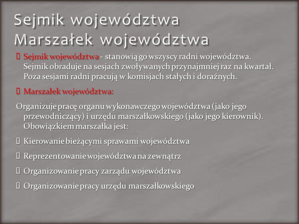 Sejmik województwa Marszałek województwa