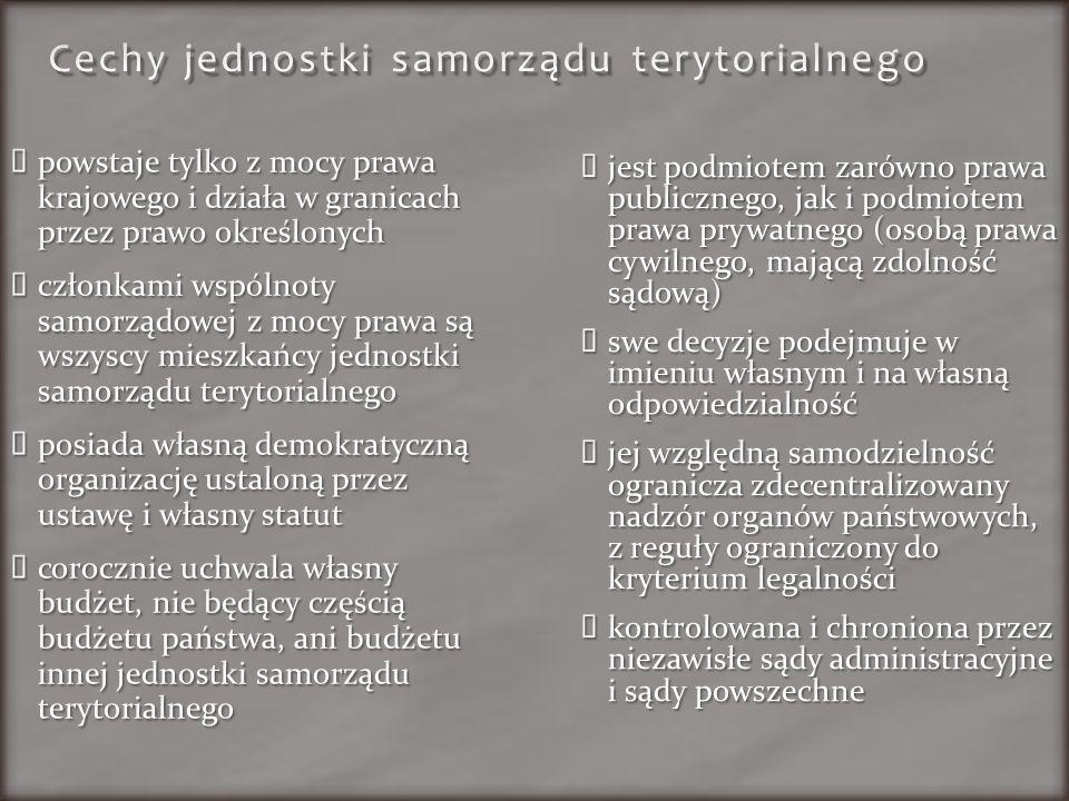 Cechy jednostki samorządu terytorialnego