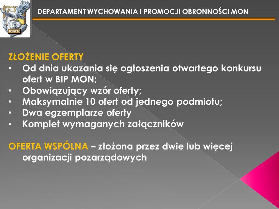 Od dnia ukazania się ogłoszenia otwartego konkursu ofert w BIP MON;