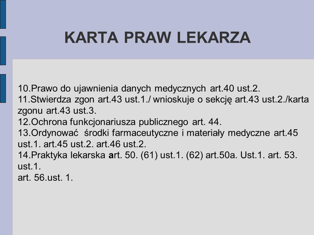 KARTA PRAW LEKARZA10.Prawo do ujawnienia danych medycznych art.40 ust.2.