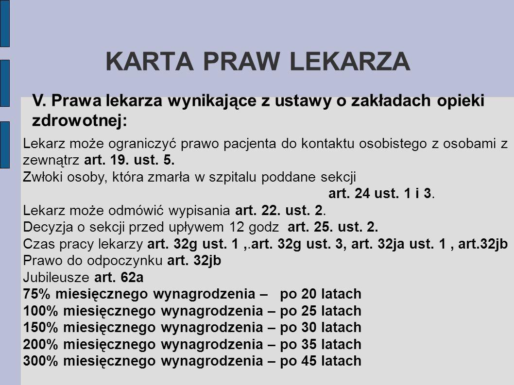 KARTA PRAW LEKARZAV. Prawa lekarza wynikające z ustawy o zakładach opieki zdrowotnej: