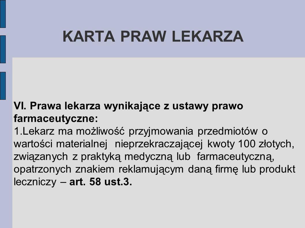 KARTA PRAW LEKARZAVI. Prawa lekarza wynikające z ustawy prawo farmaceutyczne: