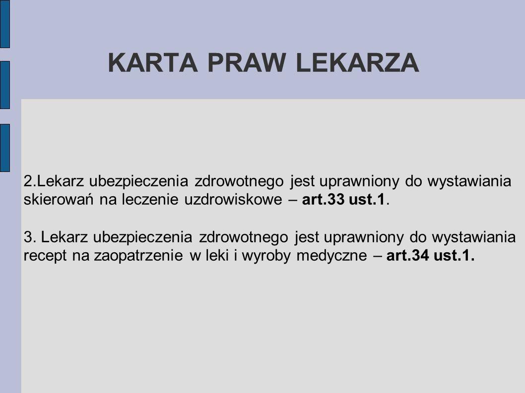 KARTA PRAW LEKARZA2.Lekarz ubezpieczenia zdrowotnego jest uprawniony do wystawiania skierowań na leczenie uzdrowiskowe – art.33 ust.1.