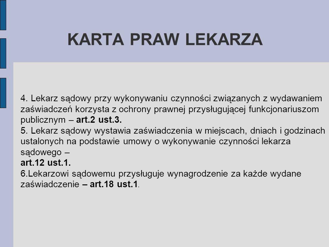 KARTA PRAW LEKARZA4. Lekarz sądowy przy wykonywaniu czynności związanych z wydawaniem.