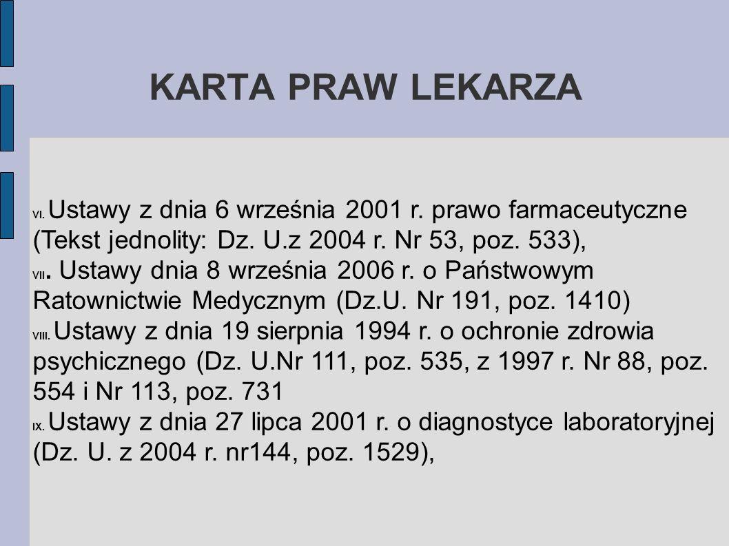 KARTA PRAW LEKARZAVI. Ustawy z dnia 6 września 2001 r. prawo farmaceutyczne (Tekst jednolity: Dz. U.z 2004 r. Nr 53, poz. 533),