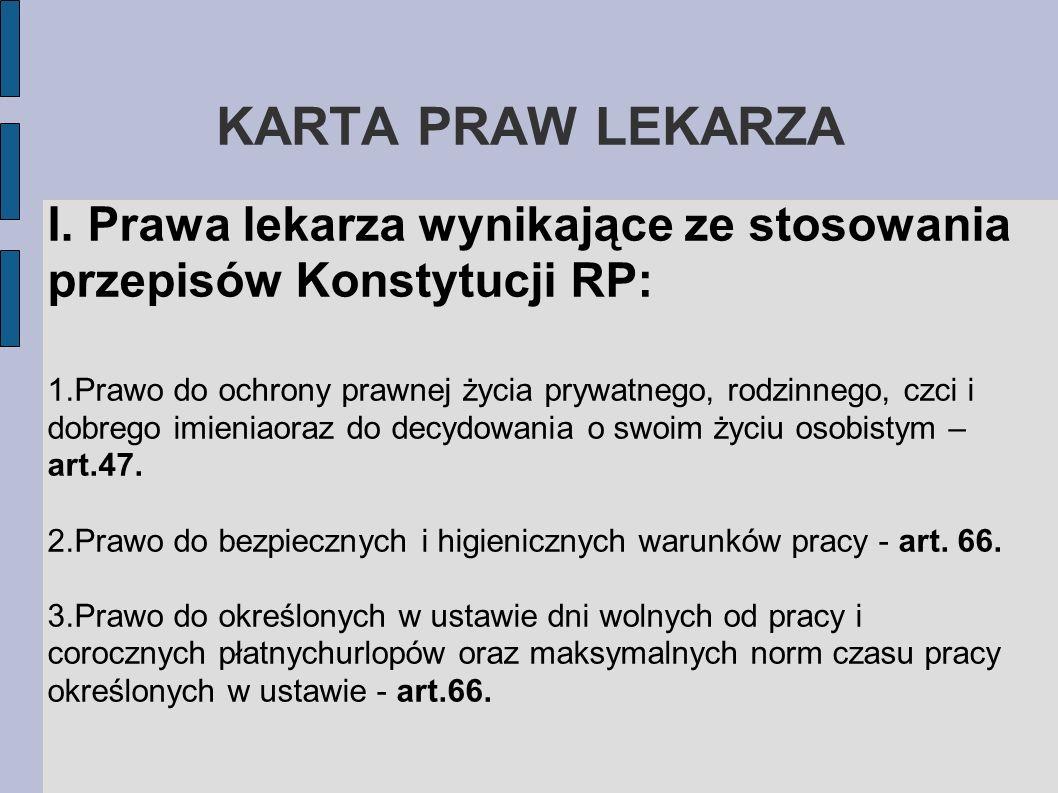 KARTA PRAW LEKARZAI. Prawa lekarza wynikające ze stosowania przepisów Konstytucji RP: