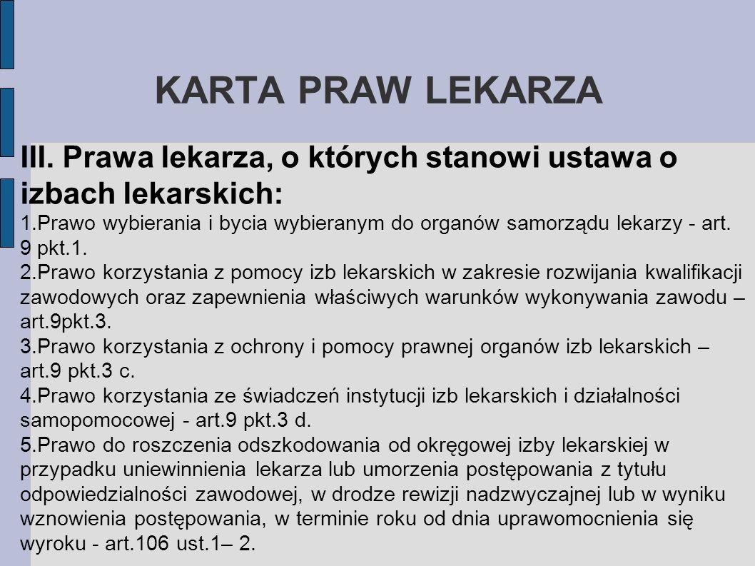 KARTA PRAW LEKARZAIII. Prawa lekarza, o których stanowi ustawa o izbach lekarskich: