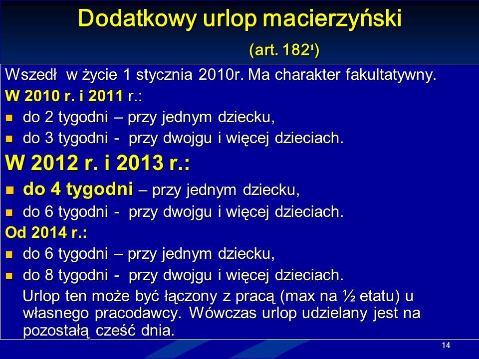 Dodatkowy urlop macierzyński (art. 182¹)