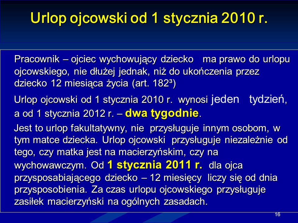 Urlop ojcowski od 1 stycznia 2010 r.