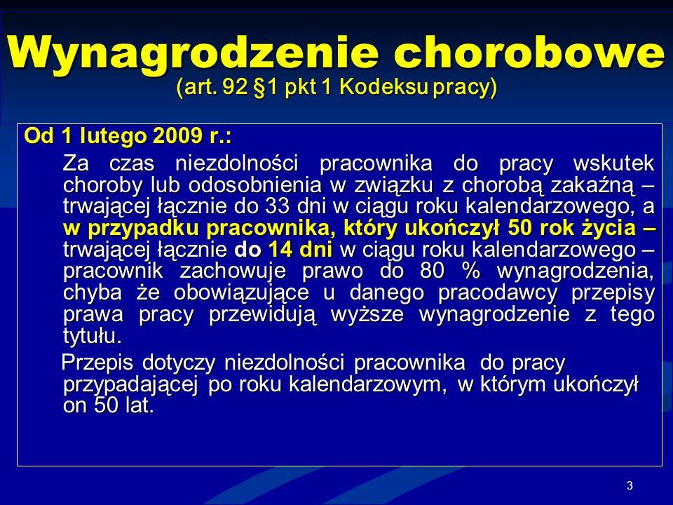 Wynagrodzenie chorobowe (art. 92 §1 pkt 1 Kodeksu pracy)